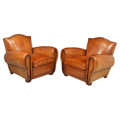 Pair of French Leather Club Armchairs, 1940