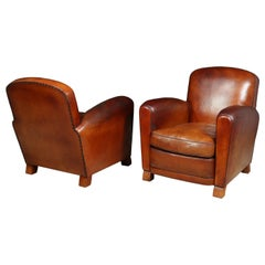 Pair of French Leather Club Chairs, circa 1940