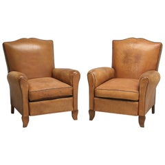 Pair of French Leather Club Chairs, Completely All Original Leather