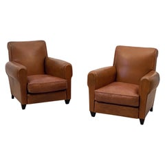 Pair of French Leather Club Chairs from the Art Deco Era 'Priced Individually'