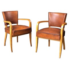 Pair of French Leather Covered Bridge Chairs 'Individually Priced'