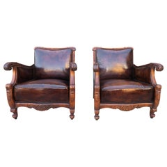 Pair of French Leather Embossed Armchairs, circa 1930s