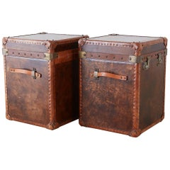 Pair of French Leather Hat Trunks after Louis Vuitton