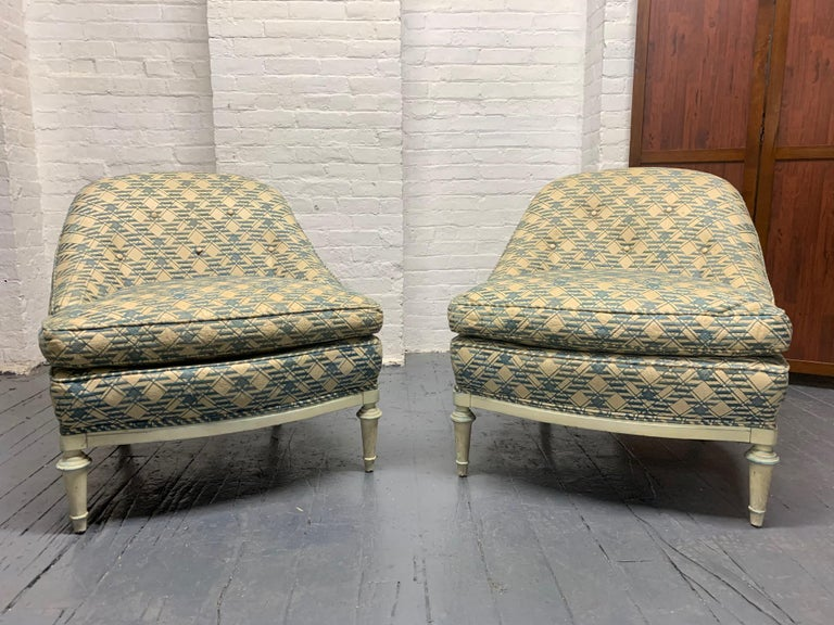 Painted Pair of French Leather Slipper Chairs For Sale