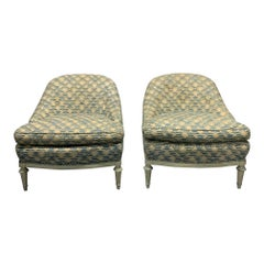 Pair of French Leather Slipper Chairs