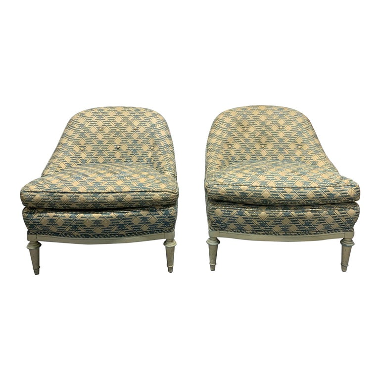 Pair of French Leather Slipper Chairs For Sale