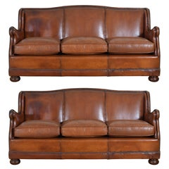 Pair of French Leather Sofas with Down Cushions, Mid-20th Century