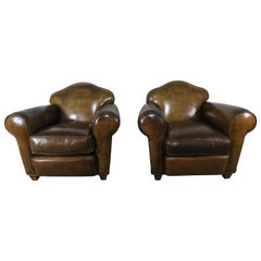 Pair of French Leather Upholstered Club Chairs, circa 1940s