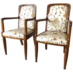 Pair of French Liberty Art Nouveau Armchairs, 1920s