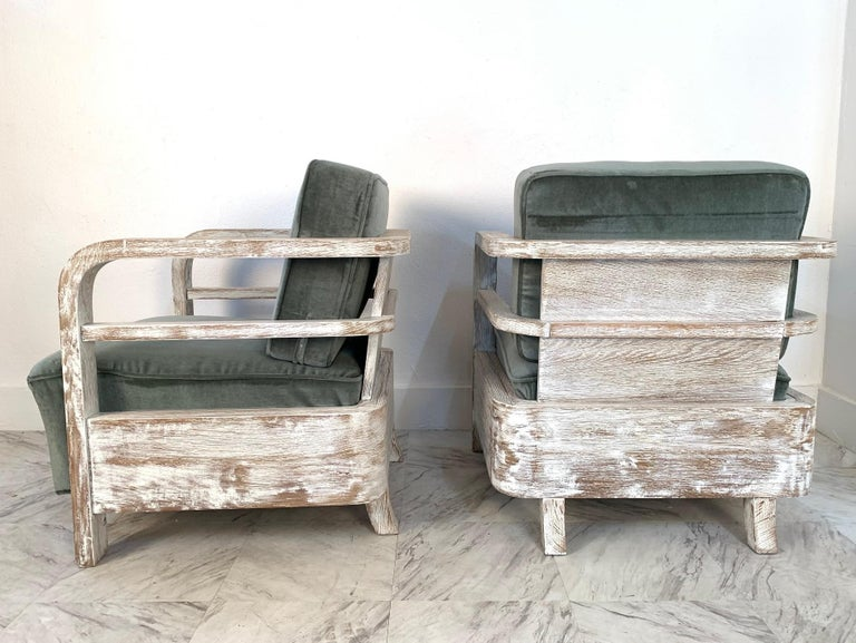 Pair of 1930s French limed oak lounge chairs. The chairs have mohair upholstery and really nice lines. Cerused. Art Deco Bauhaus.