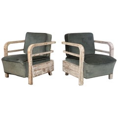 Pair of French Limed Oak Lounge Chairs