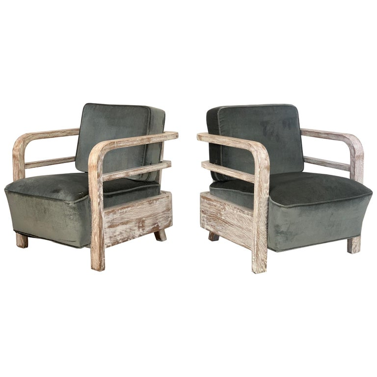Pair of French Limed Oak Lounge Chairs For Sale