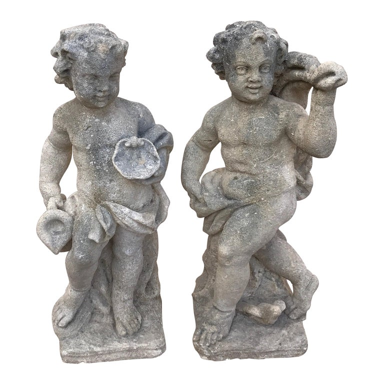 Pair of French Limestone Putti For Sale
