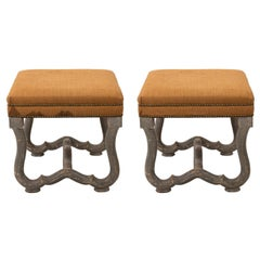 Pair of French Linen Upholstered Stools, circa 1960s