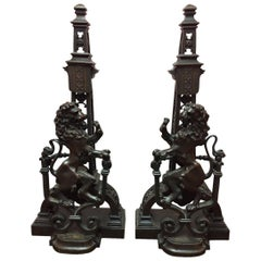 Pair of French Lion Motif Bronze Andirons, 19th Century