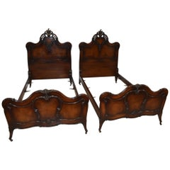 Pair of French Louie XV Style Walnut Twin Bed Frames by Irwin Furniture