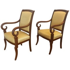 Pair of French Louis Phillipe Mahogany Armchairs Recovered in a Yellow Fabric