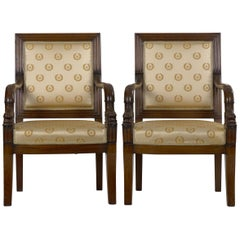 Pair of French Louis Phillipe Napoleonic Carved Mahogany Armchairs, circa 1840