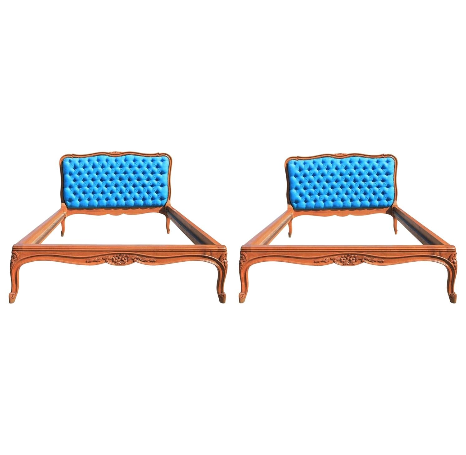 Pair of French Louis Twin Size Bed Frames and Headboard Tufted