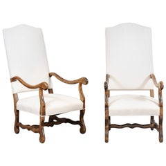 Pair of French Louis XIII Style 19th Century Os de Mouton Upholstered Armchairs
