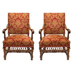 Pair of French Louis XIII Style circa 1870 Oak Armchairs