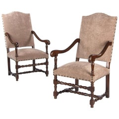 Pair of French Louis XIII Style Upholstered Beechwood Armchairs, circa 1920s