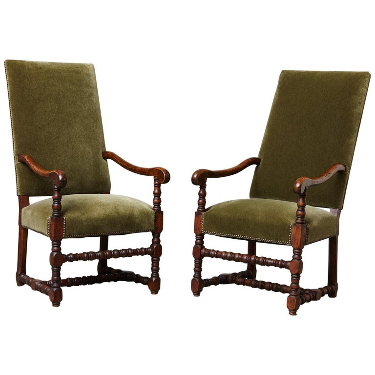 Pair of French Louis XIII Style Walnut Fauteuils / Throne Chairs in Green Mohair For Sale