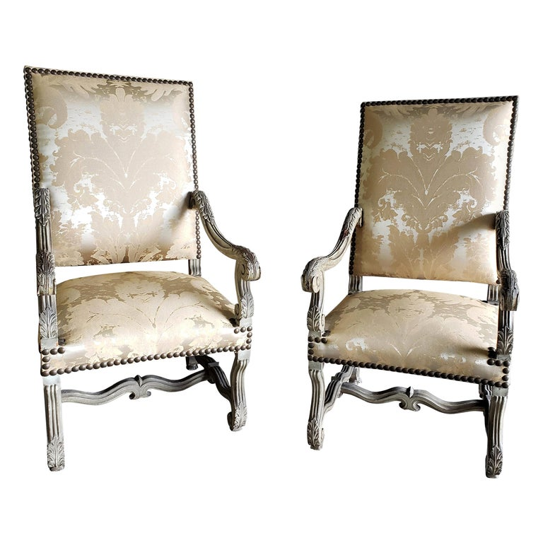 Pair of 19th Century French Louis XIV Armchairs or Fauteuils For Sale