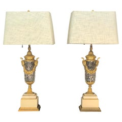Pair of French Louis XIV Crystal with Bronze Doré Mounted Urns / Lamps, 19th C.