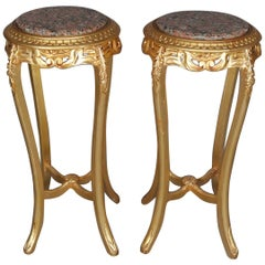 Pair of French Louis XIV Marble-Top Giltwood Sculpture Pedestals, 20th Century