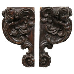 Pair of French Louis XIV Period 1690s Carved Cherub Appliques from Strasbourg