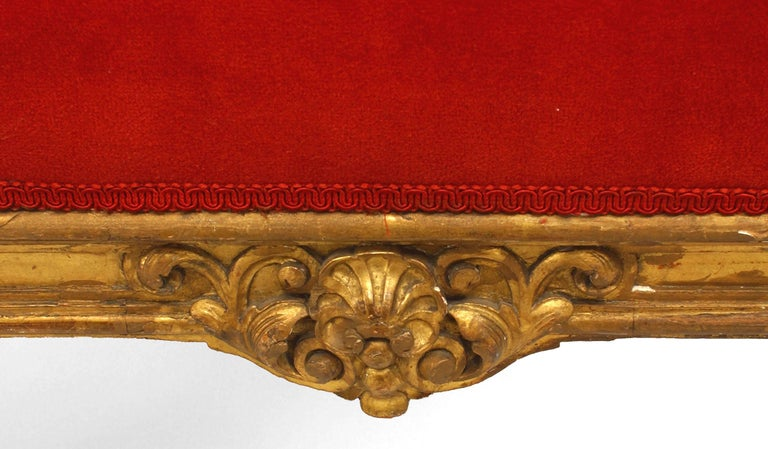 Pair of French Louis XIV Style '19th Century' Carved Giltwood Benches In Good Condition For Sale In New York, NY