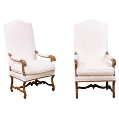 Pair of French Louis XIV Style 19th Century Walnut Fauteuils with New Upholstery