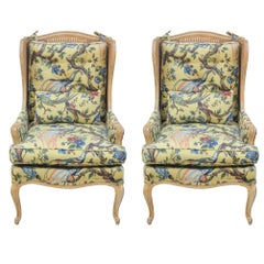 Pair of French Louis XIV Style Cane Bergère Lounge Chairs