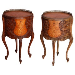 Pair of French Louis XIV Style Cylinder Mahogany Inlaid Marquetry Side Stands