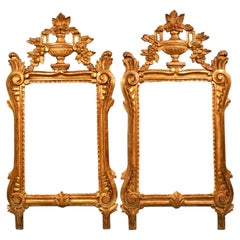 Pair of French Louis XIV Style Giltwood Mirrors