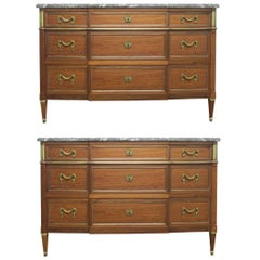 Pair of French Louis XIV Style Marble Top Dressers