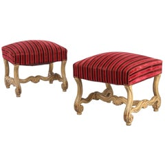 Pair of French Louis XIV Style Painted Upholstered Ottomans, Early 1900s