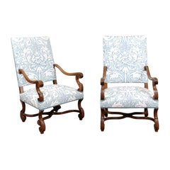 Pair of  French Louis XIV Style Walnut Armchairs, Late 19th Century