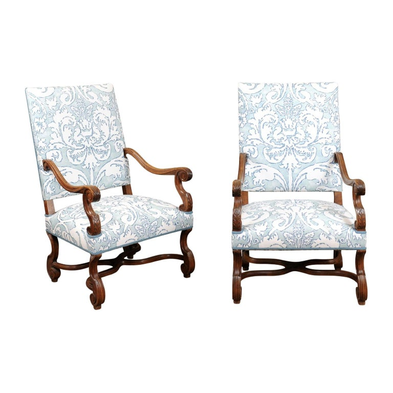 Pair of  French Louis XIV Style Walnut Armchairs, Late 19th Century For Sale