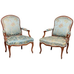 Pair of French Louis XV Armchairs, circa 1760