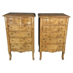 Pair of French Louis XV Burled Walnut or Fruitwood Side Tables or Nightstands