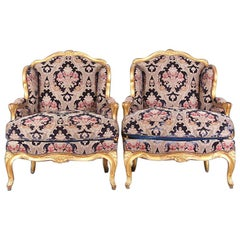 Pair of French Louis XV Carved and Gilt Framed Armchairs L'attelier Claude Dalle