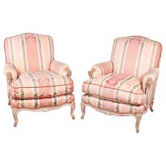 Pair of French Louis XV Carved and Painted Armchairs