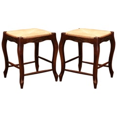 Pair of French Louis XV Carved Beech Wood Stools with Rush Seat