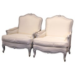 Pair of French Louis XV Carved Painted Armchairs with White Muslin