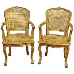 Pair of French Louis XV Child Sized Caned Armchairs, circa 1930s