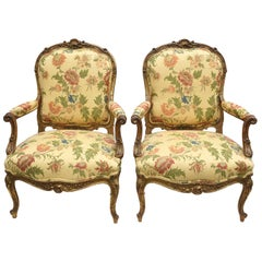 Pair of French Giltwood Armchairs/Fauteuil à la Reine by François Linke