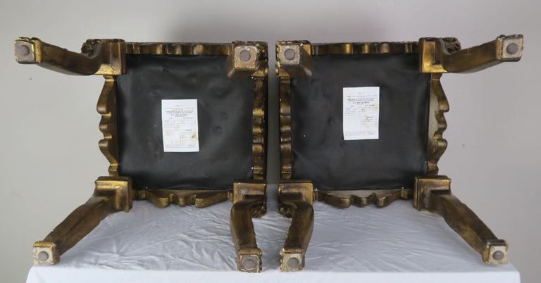 Pair of French Louis XV Leather Benches, circa 1950s For Sale 6