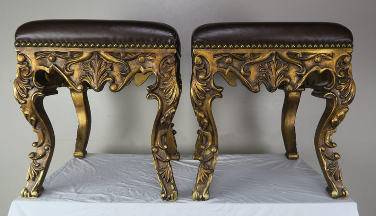 Pair of French Louis XV Leather Benches, circa 1950s For Sale 7